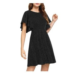Black-A Stretchy Swing Flared Cocktail Dress